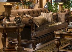 I Love Dark Brown Couches With Wood Scroll Trim. Part 98