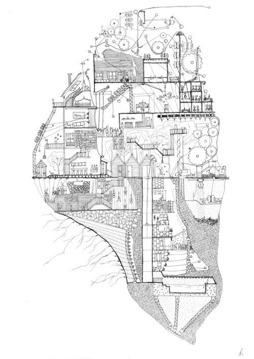 Ellie Compton: My Fathers Home New Zealand Artist that intertwines architecture and Narrative in complex hand drawings