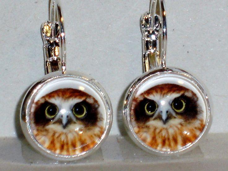 Ohrringe Eule Hänger Metall Legierung Ohrschmuck Modeschmuck Glas ohne Stein