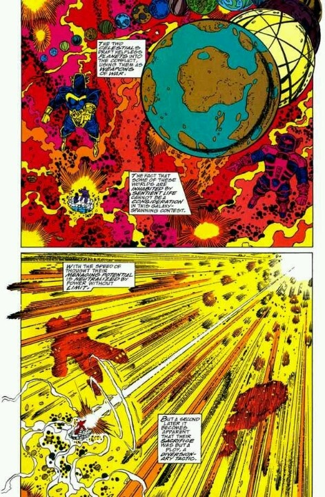 Infinity Gauntlet, Celestials throw planets at Thanos ...
