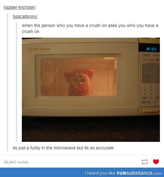 ...I just have so many questions. First- how does this convey any kind of emotion? Second- Why is a furby  in the microwave!?!