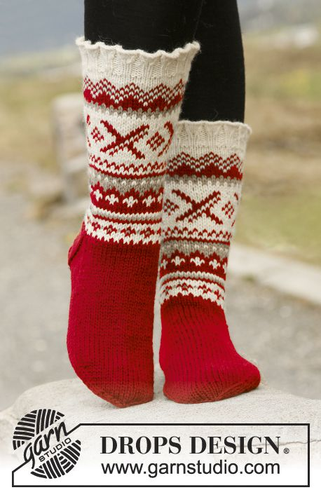 "Christmas gift idea for #mom: Knitted DROPS socks with Norwegian pattern in ""Karisma"". ~ DROPS Design"