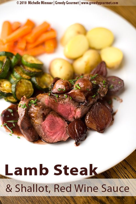 Lamb Leg Steaks with Shallots and Sticky Red Wine Sauce.