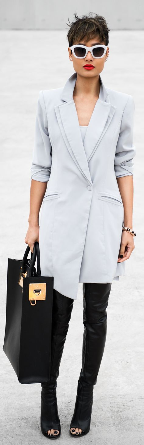She's Electric Grey Taylor Tuxedo Dress.......................not liking the boots though!!!