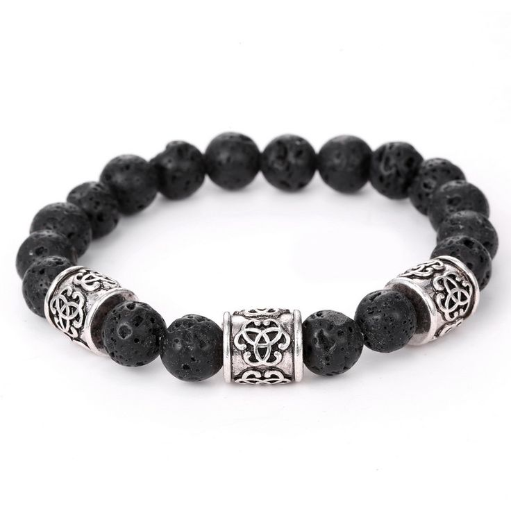 YYW Lava Bracelet New Punk Statement Jewelry Antique Silver-color Column Beaded Natural Real Black  Stones Bracelets Women MAN