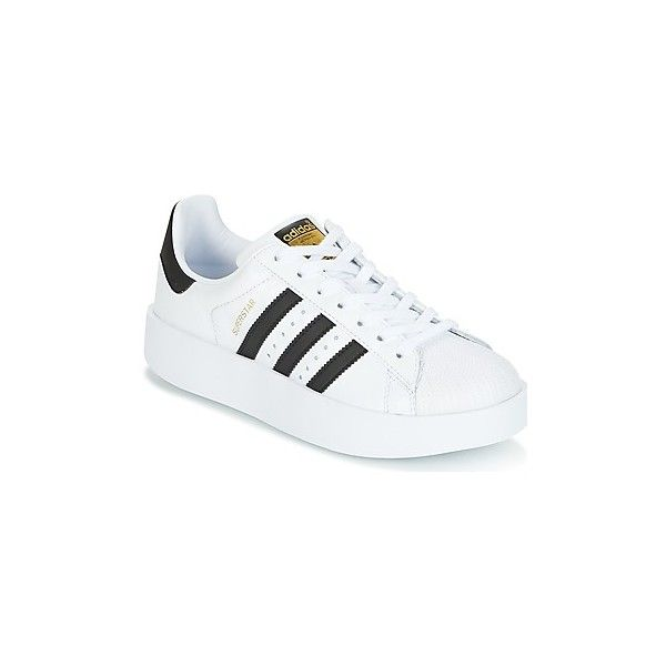 adidas SUPERSTAR BOLD W Shoes (Trainers) (£63) ❤ liked on Polyvore featuring shoes, sneakers, trainers, white, women, real leather shoes, white trainers, adidas sneakers, leather footwear and adidas trainers