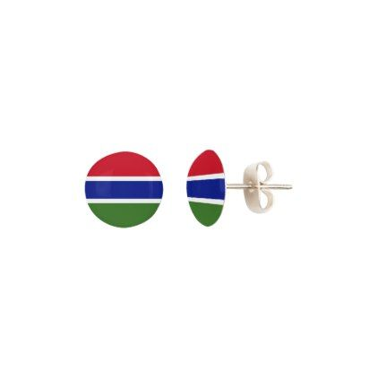 Gambia Flag Earrings - jewelry jewellery unique special diy gift present