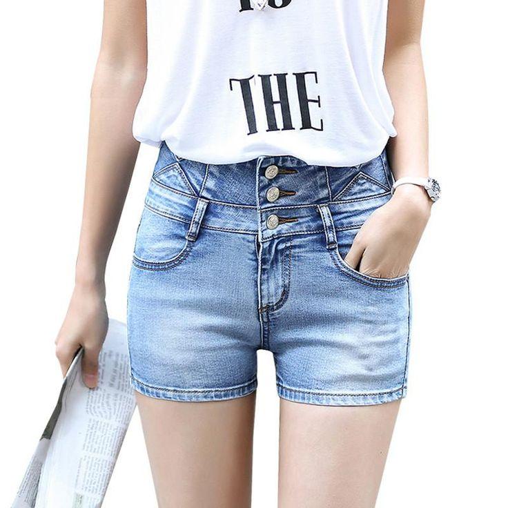 Summer high waist shorts women Fashion stretch denim shorts Three buttons slim short jeans Pocket decorate Plus size 26-32 M214  #stylish #beauty #dress #instalike #instafashion #sweet #shopping #cool #model #style