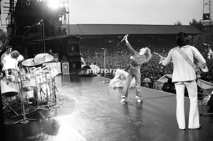 The Who rock group performing at The Valley, home of Charlton Athletic football club. 1976