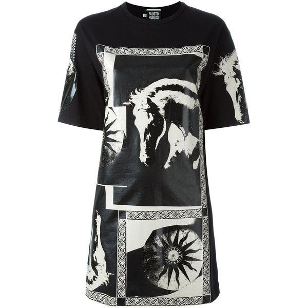 Fausto Puglisi Horse Print Oversized T-Shirt ($275) ❤ liked on Polyvore featuring tops, t-shirts, black, oversized t shirt, fausto puglisi, cotton t shirts, horse t shirts and oversized tee