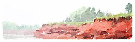 PEI Shoreline  Watercolour by SpinnakerLaneDesigns on Etsy