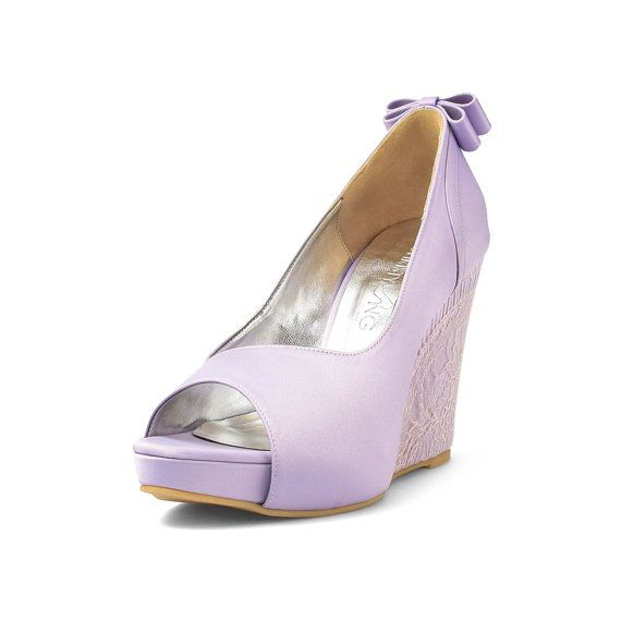 Lisa Purple Custom Made Wedges Lace By ChristyNgShoes