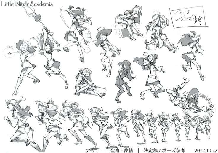 "artbooksnat: "" Little Witch Academia (リトル ウィッチ アカデミア) Full-color character designs for Little Witch Academia, illustrated by Yoh Yoshinari (吉成曜) were included in the March 2013 issue of Animestyle..."