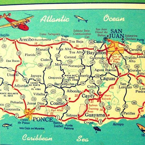 vintage Puerto Rico map prints VENTANA AL MUNDO