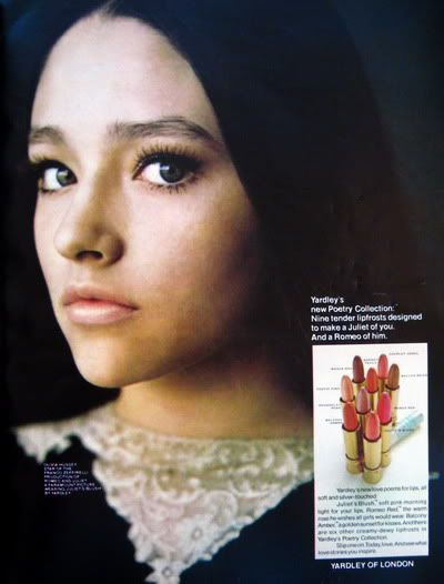 Yardley of London 1968 - Olivia Hussey. Every girl in my junior high wanted to look like her!