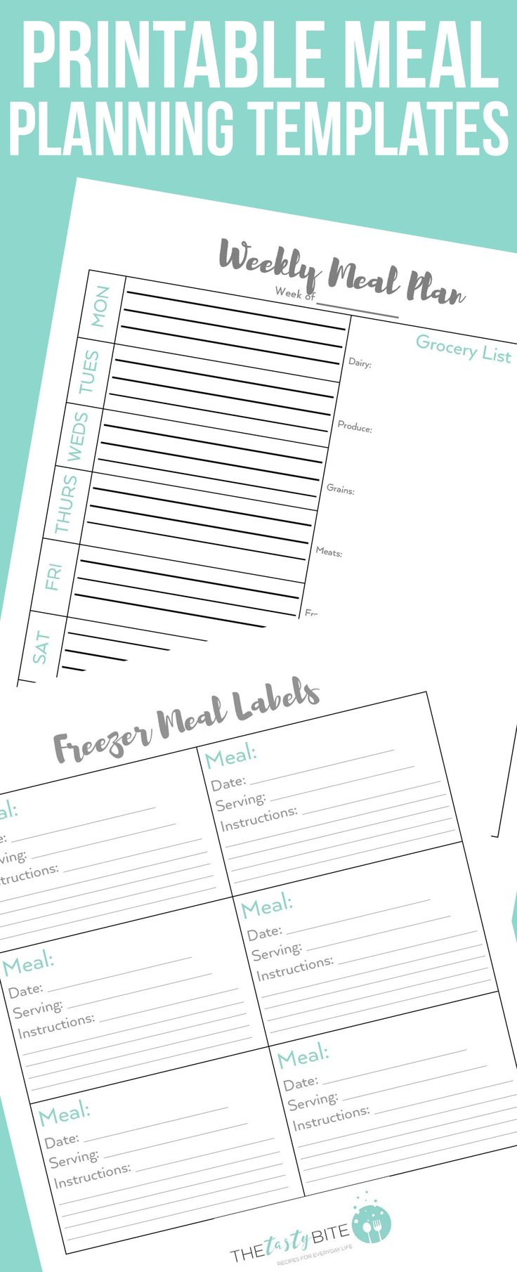 These printable weekly menu templates and freezer meal labels will help you stay organized when meal planning! #mealplanning #organization