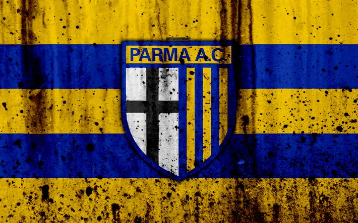 Download wallpapers Parma, 4k, grunge, Serie B, football, Italy, soccer, FC Parma, stone texture, football club, Parma FC