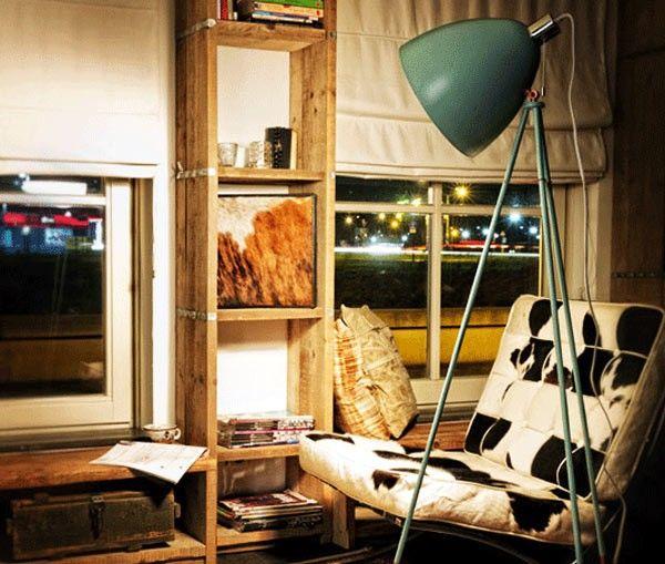 49342 | EGLO Lámpara de pie Vintage color verde pino y latón. #iluminación #decoración
