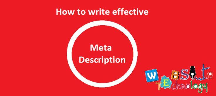 Get ideas how to write effective meta description.