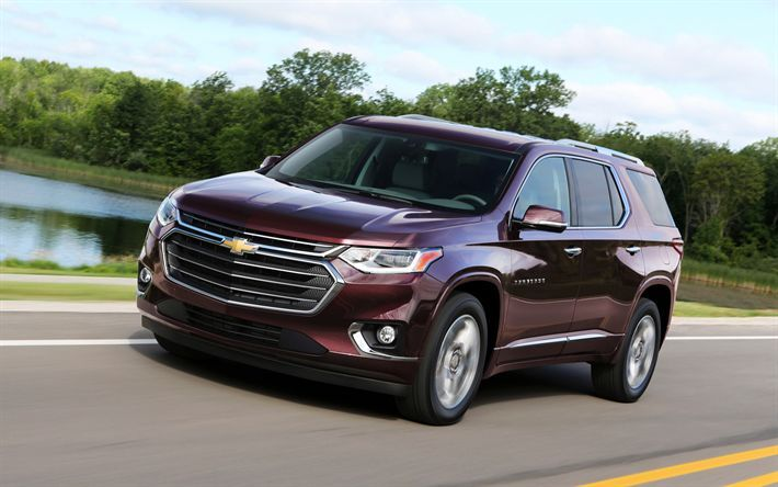 Download Wallpapers Chevrolet Traverse 2018 Suv Burgundy Ride