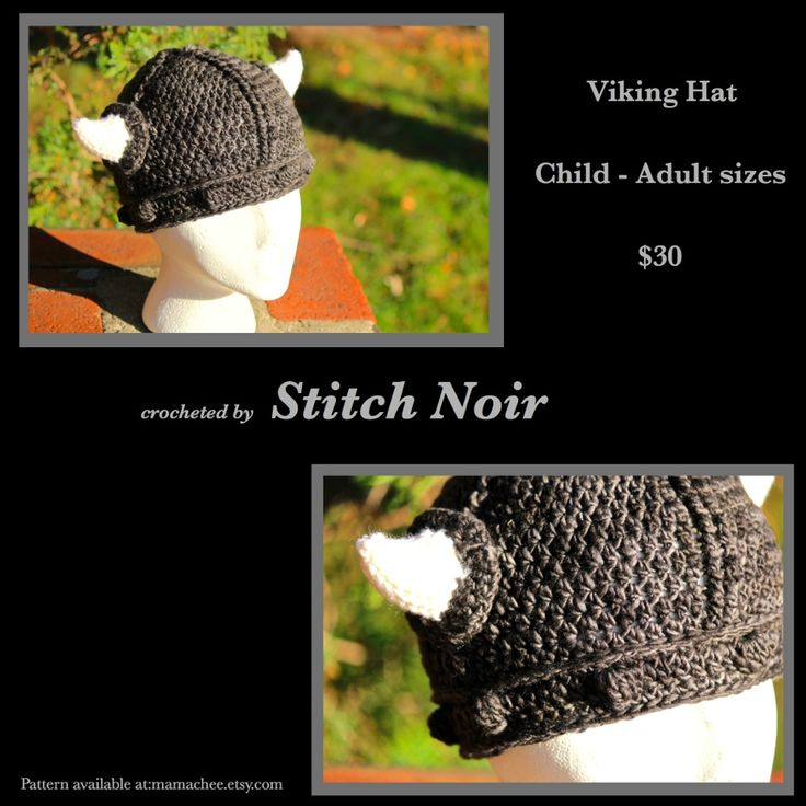 Lil' person Viking hat :) Two made for a custom order...sized to fit 6mos+ 100% lovely variegated wool with soft, stuffed horns