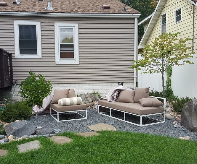 3 4 Trap Gravel Patio With Mixed Size, Boulder Outdoor Furniture
