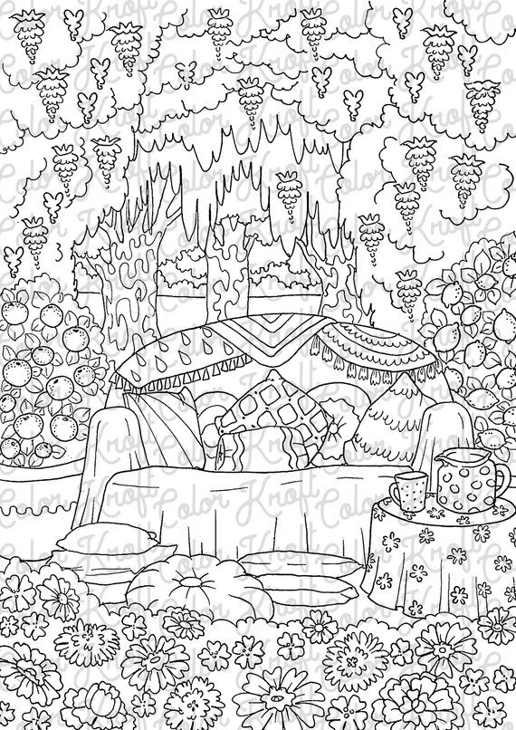 Country Garden Backyard Lounge Coloring Page Printable