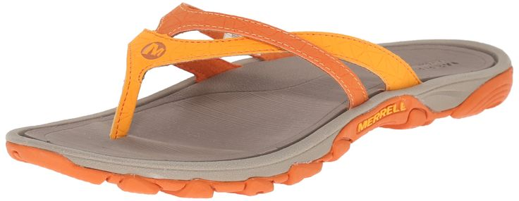 Merrell Women's Enoki Flip Sandal, Orange, 11 M US. Breathable air mesh upper. Breathable mesh lining wicks to keep feet dry. Ethylene vinyl acetate removable footbed. Molded nylon arch shank. Merrell air cushion in the heel absorbs shock and adds stability.