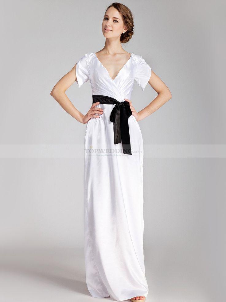V Neck Pleated Long Satin Wedding Dress with Sash 0114534