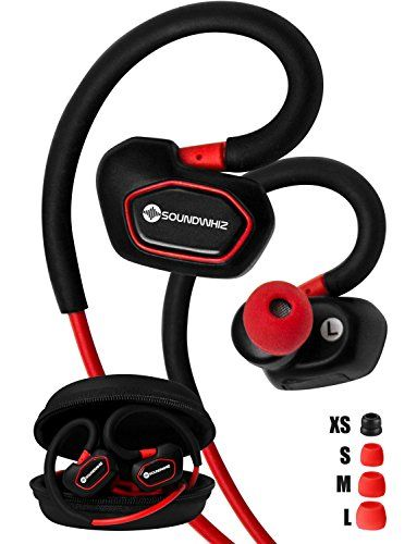 Bluetooth Earbuds SoundWhiz Spark Best Wireless Earbuds Stable Fit For Running Cycling Gym Yoga Fitness Wireless Headset with Mic Red -- Visit the image link more details.