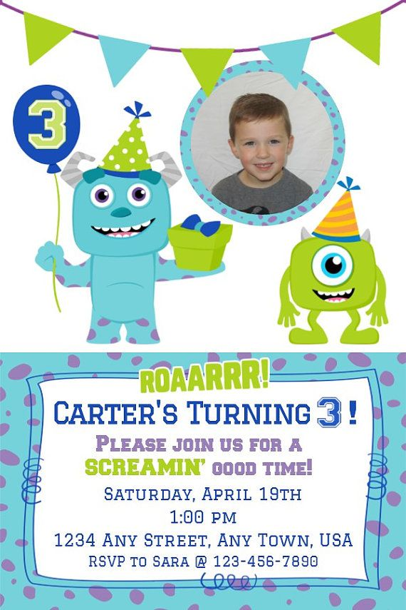 Monster Inc. Birthday Invitation Boy by MelissaStanleyDesign, $8.00