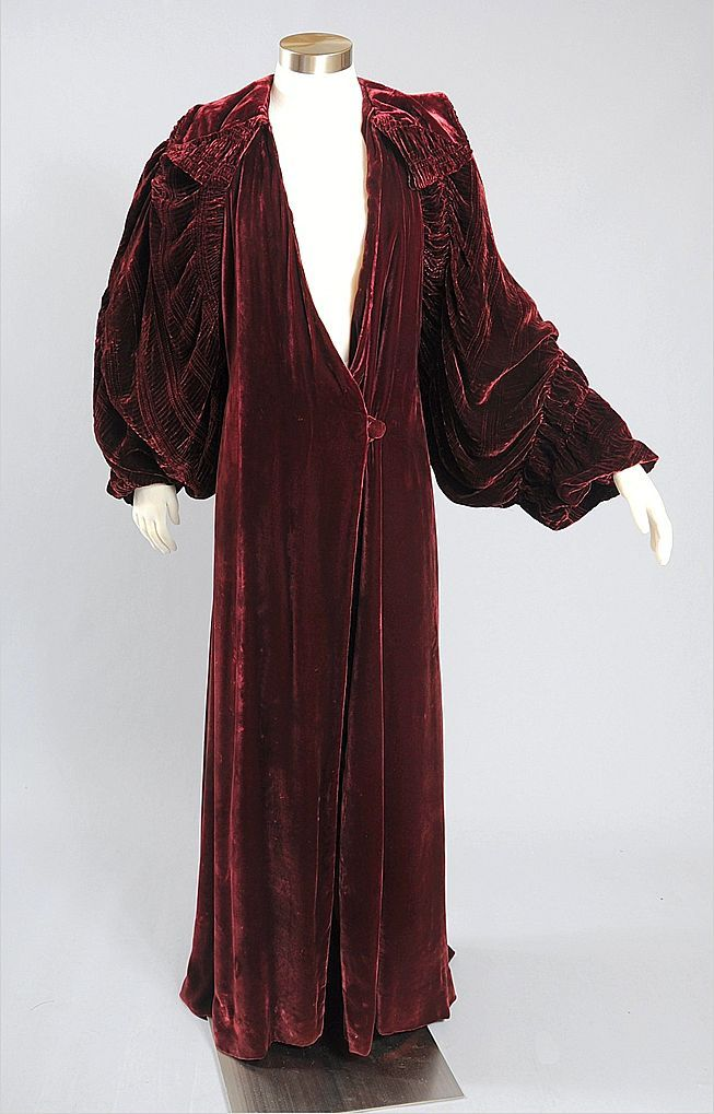 Lavish 1920s - 30's Deco Silk Velvet Dressing Gown from mairemcleod on Ruby Lane