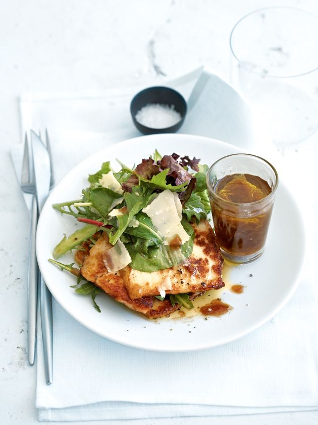 donna hay: haloumi salad with caramelised onion dressing