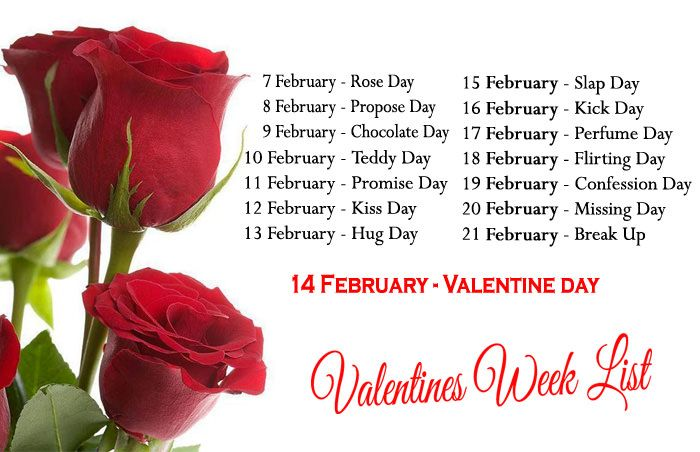 Complete List Of Valentine Week With Dates And Name Anti Or After