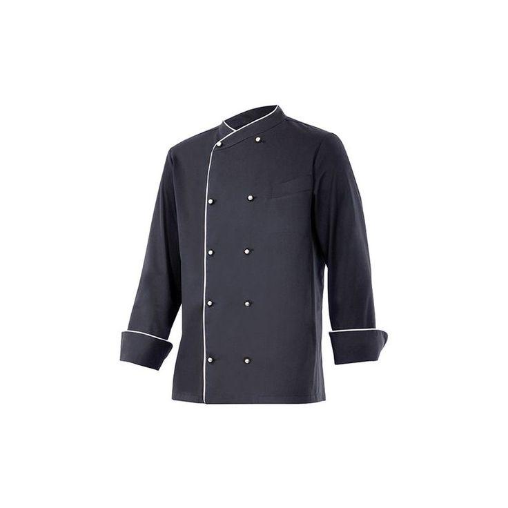 Chemise de cuisine à fermeture croisée homme finition téflon 65% polyester 35% coton 210 gr/m2 – Noir/Blanc – ENELDO – Disvel – taille: 64