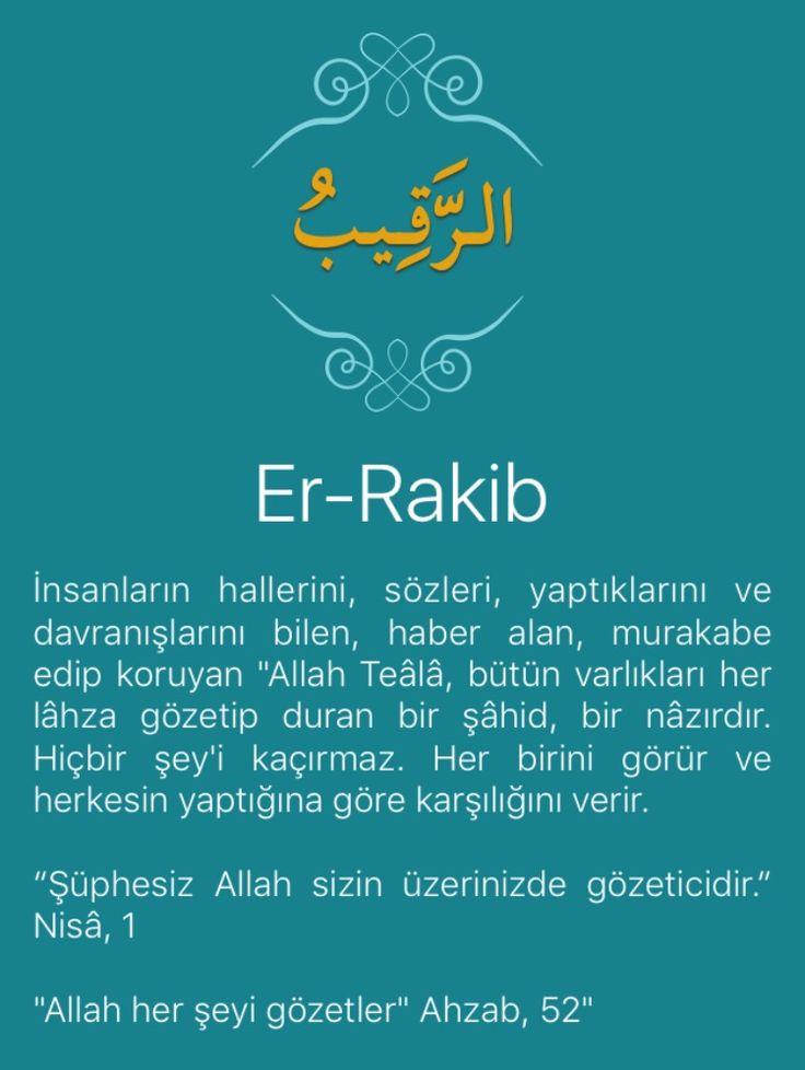 """İnsanların hallerini, sözleri, yaptıklarını ve davranışlarını bilen, haber alan, murakabe edip koruyan """"Allah Teâlâ, bütün varlıkları her lâhza gözetip duran bir şâhid, bir nâzırdır. Hiçbir şey'i kaçırmaz. Her birini görür ve herkesin yaptığına göre karşılığını verir.   """"Şüphesiz Allah sizin üzerinizde gözeticidir."""" Nisâ, 1   """"Allah her şeyi gözetler"""" Ahzab, 52"""""""