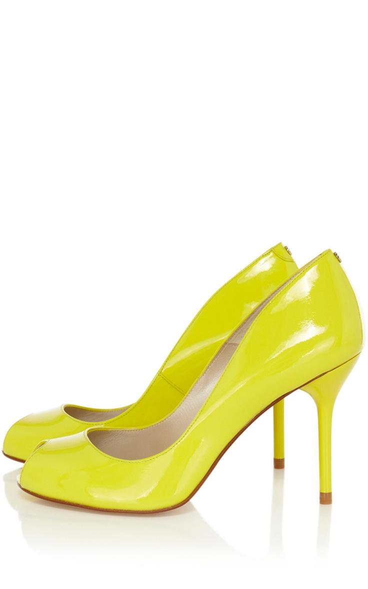 Shoes | Yellow Signature patent peep toe | KarenMillen