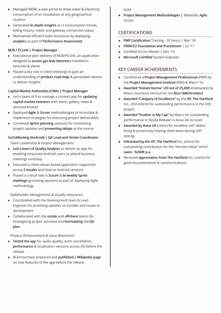 2 Page Resume format Elegant Two Page Resume format 2018