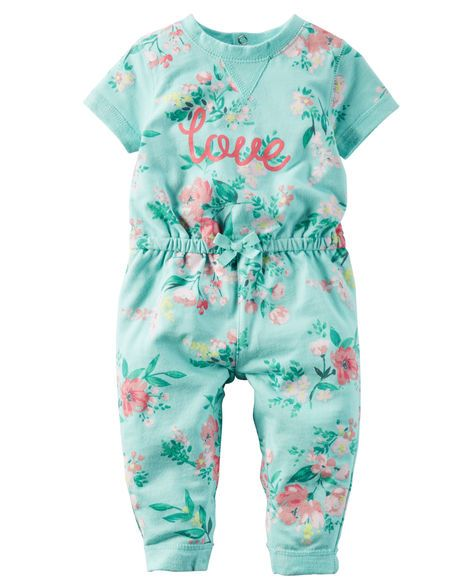 In an allover floral print with a sweet slogan, this cozy French terry jumpsuit is a summer must have.