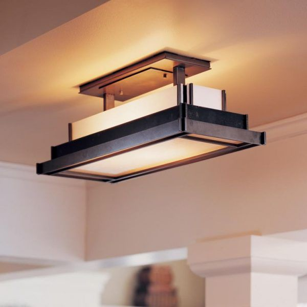 Flush Mount Kitchen Lighting With Ceiling Light Fixtures Also Yellow  Fluorescent Bulbs Across Interior Decorative Columns