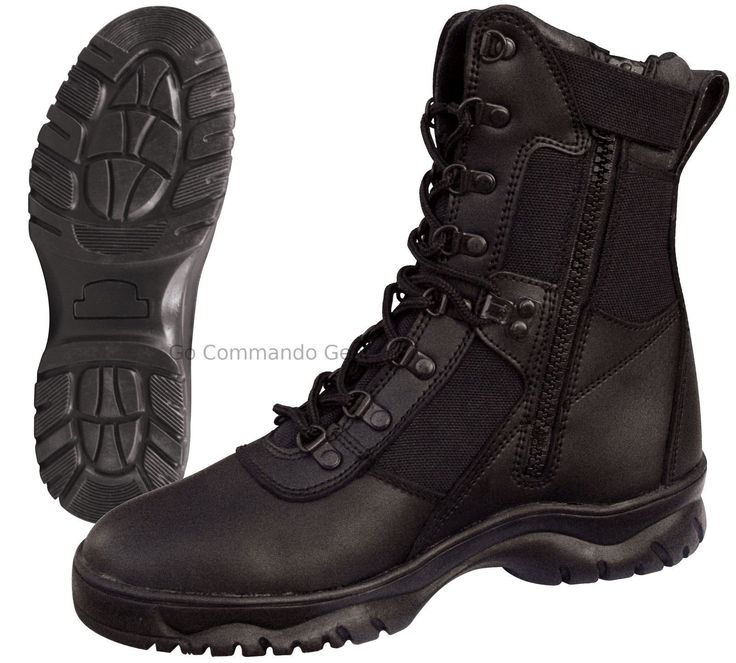 "- 'Forced Entry' 8"" Tactical Boot With Side Zipper - Color: Black - Leather & Nylon Upper - Leather Collar - Steel Shank - Gusseted Tongue - Slip Resistant Sole - Speedlace Eyelets - Rust-Proof Hardwa"