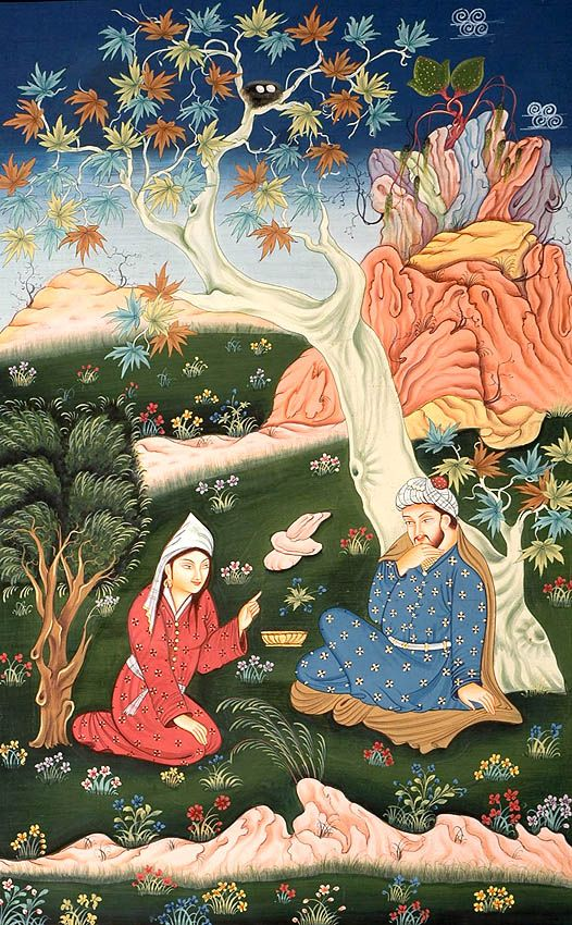 lovers in garden- Persian miniature