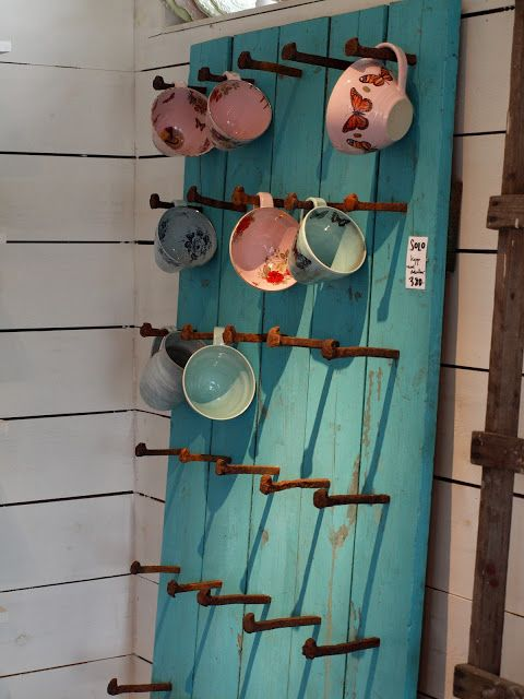 What a great way to display tea cups and coffee mugs! - @moxiethrift on etsy VanRyn Carson ?? I like this idea!