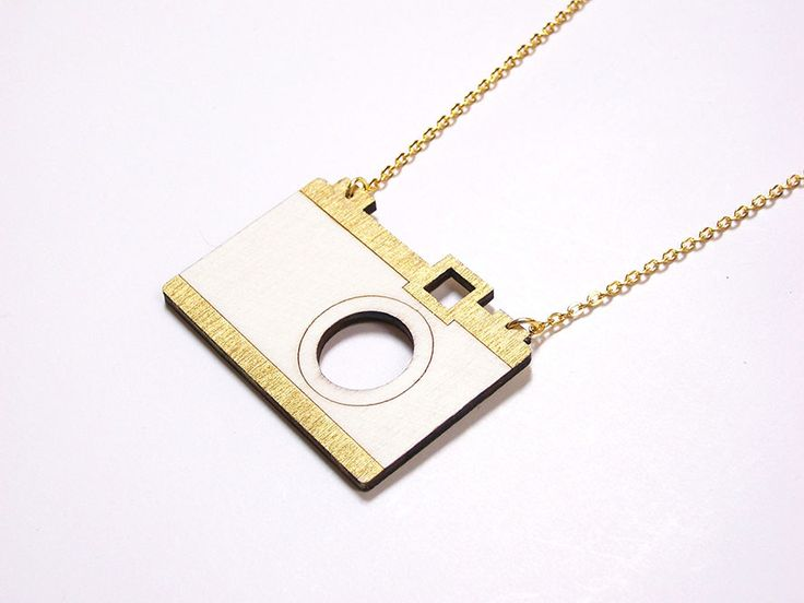 Hand painted, laser cut, plywood pendant - Camera