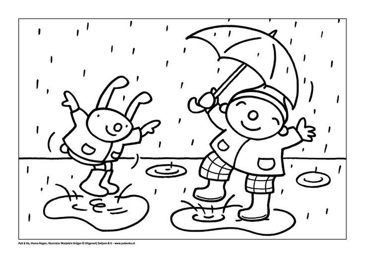 puk in de regen regen knutselen kleurplaten kleurboek