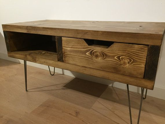 solid pine box tv stand with drawer and hairpin by