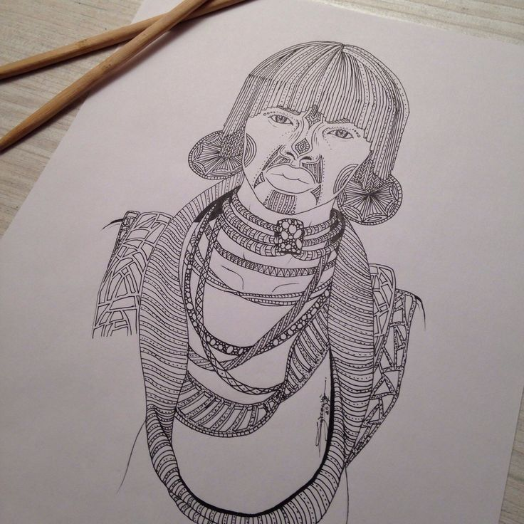My drawing, Tribal 005, portrait of a man. You like my picture ?