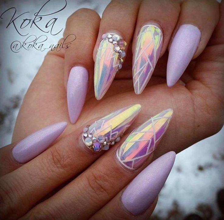rosa holographische Stilettnägel – Nails Gelnägel