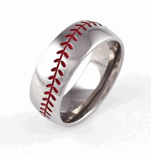 mens titanium baseball wedding ring with color stitching - Sports Wedding Rings