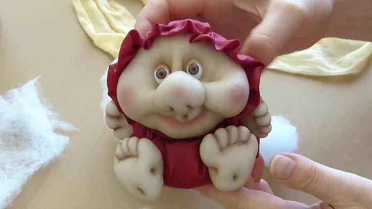 Кукла неваляшка из колготок. Чулочная техника. Doll from stocking, Roly-...